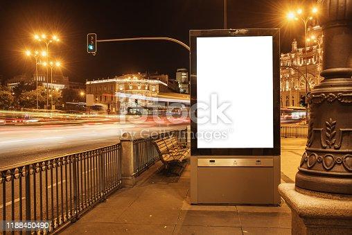 932815522 istock photo Blank billboard at night 1188450490