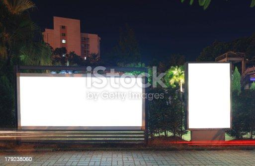 istock Blank billboard at night 179238060