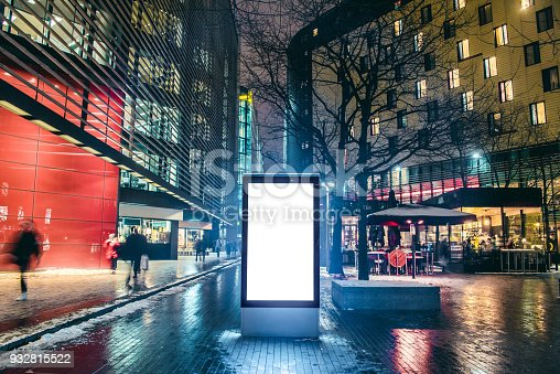 istock Blank billboard at night 932815522