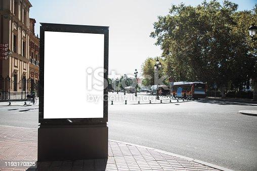 A blank advertisement billboard in a street