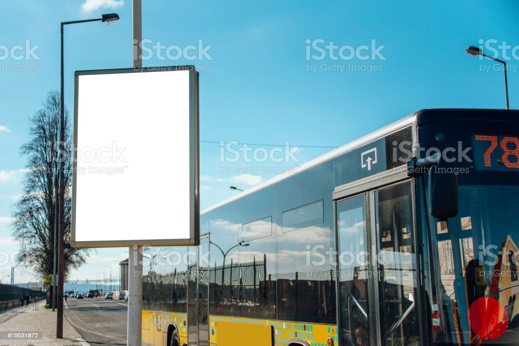 Blank billboard at street - foto stock