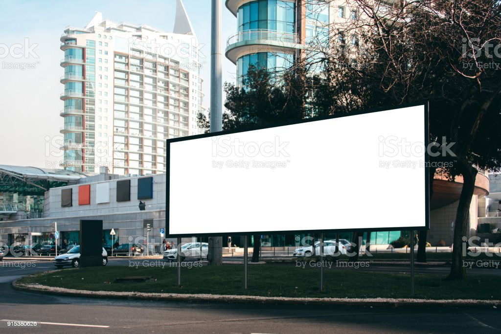 Blank billboard at street stock photo