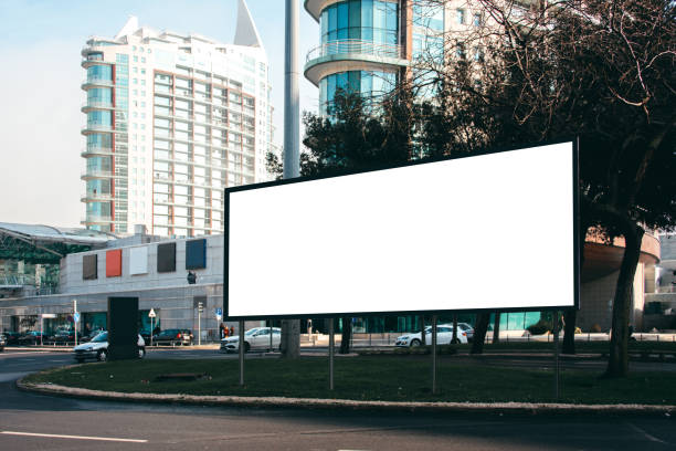 Blank billboard at street stock photo