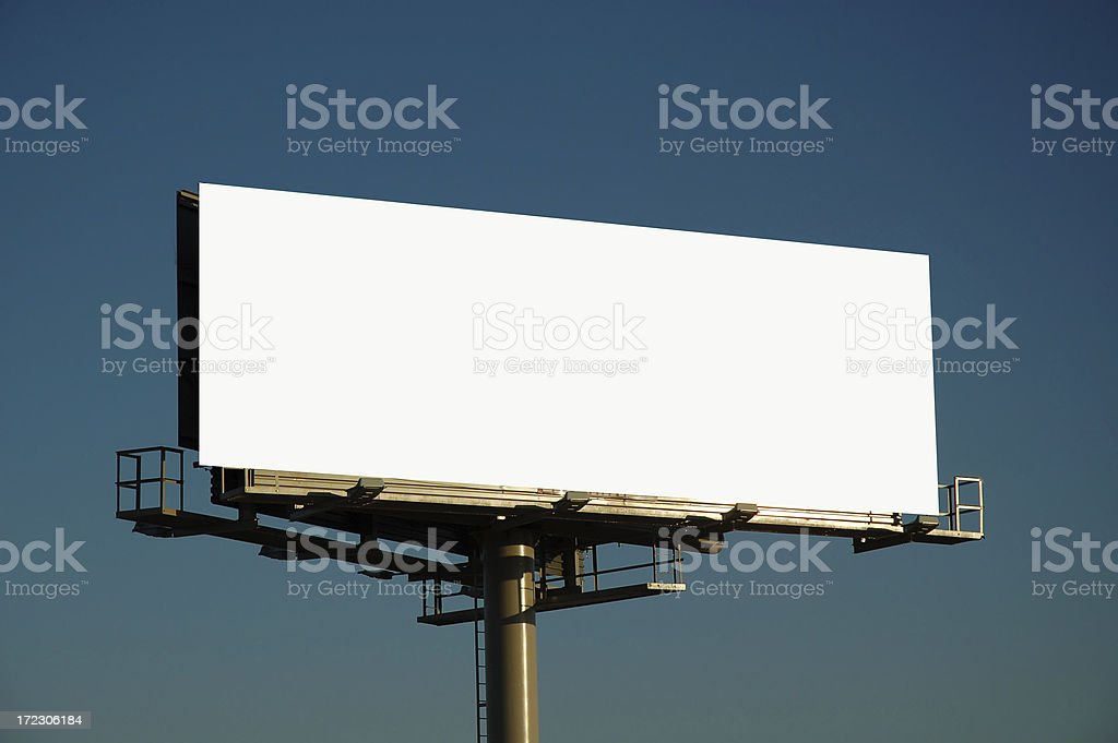 Blank billboard at sunset stock photo