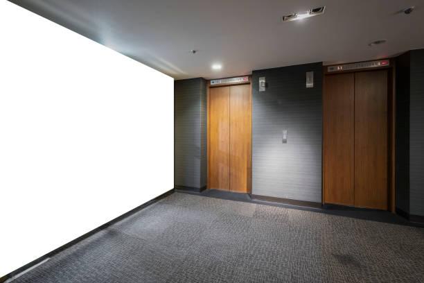 blank billboard at the elevator entrance - hotel reception zdjęcia i obrazy z banku zdjęć