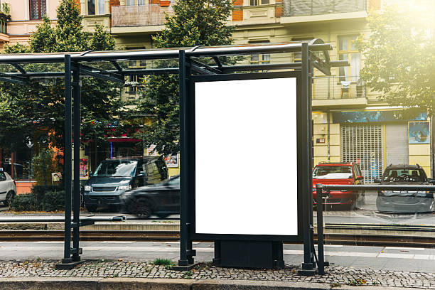 blank billboard at tram station - berlin wall imagens e fotografias de stock