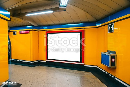 istock Blank billboard at underground station 866260722