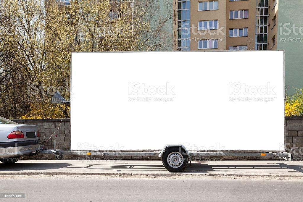 Blank billboard car trailer stock photo