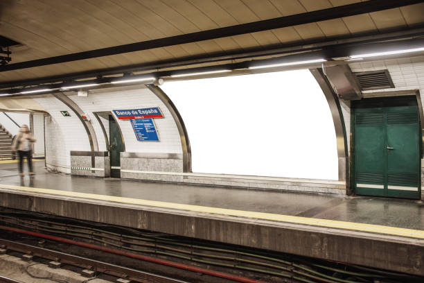 Blank billboard for advertisement inside subway station stock photo