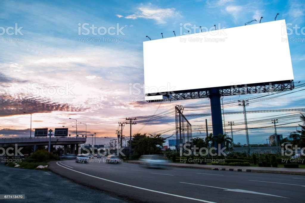 Blank billboard for outdoor advertising stock photo