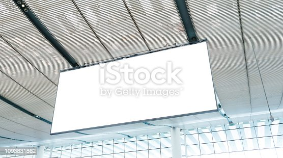 istock Blank billboard hanging from the ceiling 1093831862