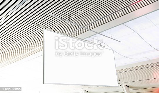 istock Blank billboard hanging from the ceiling 1132183855