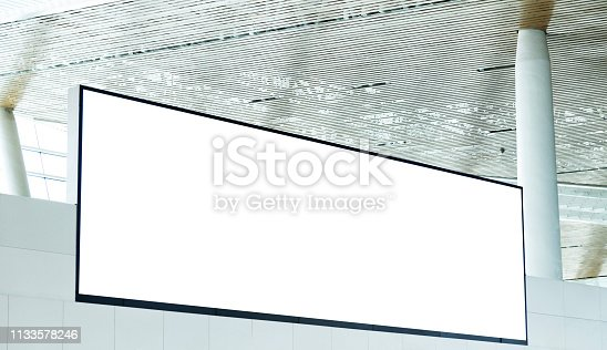 istock Blank billboard hanging on the ceiling 1133578246
