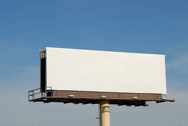 A blank billboard high in the air blank billboard against blue sky billboard stock pictures, royalty-free photos & images