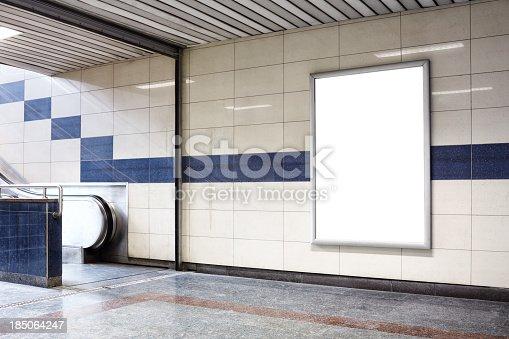 istock Blank billboard in a subway station wall. 185064247