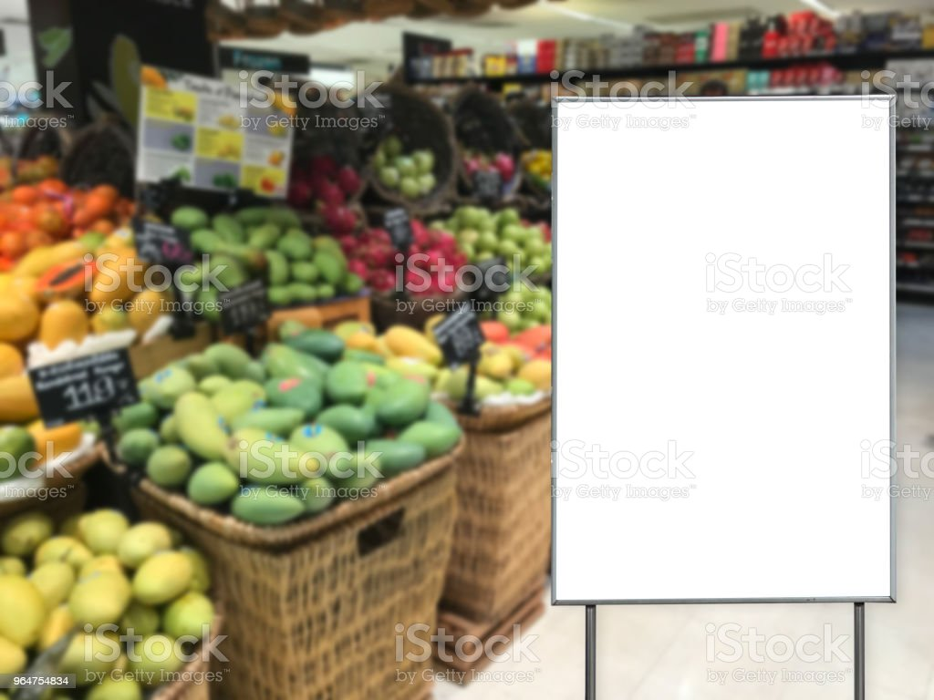 Blank billboard in a supermarket copy space for text message royalty-free stock photo