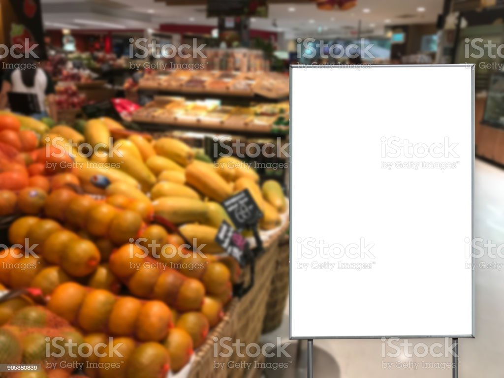 Blank billboard in a supermarket copy space for text message zbiór zdjęć royalty-free