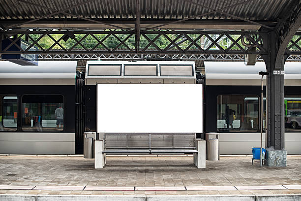 blank billboard in a swiss train station - billboard train station bildbanksfoton och bilder