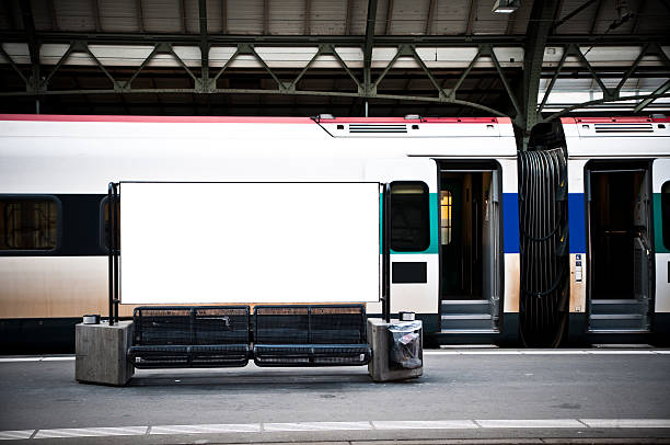 blank billboard in a train station - billboard train station bildbanksfoton och bilder
