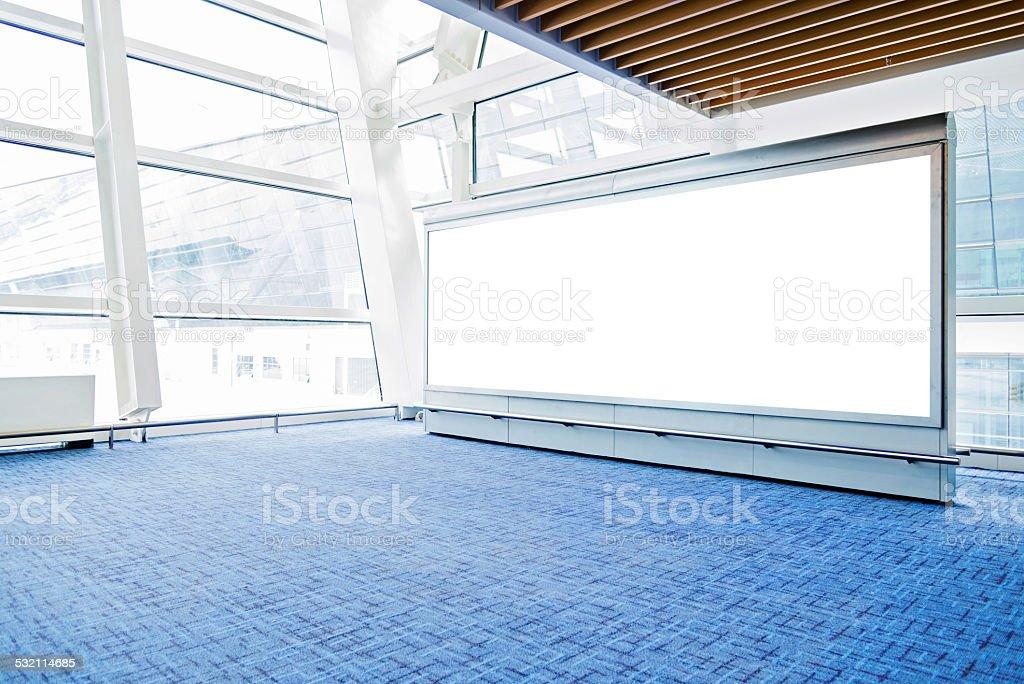 Blank billboard in airport stock photo