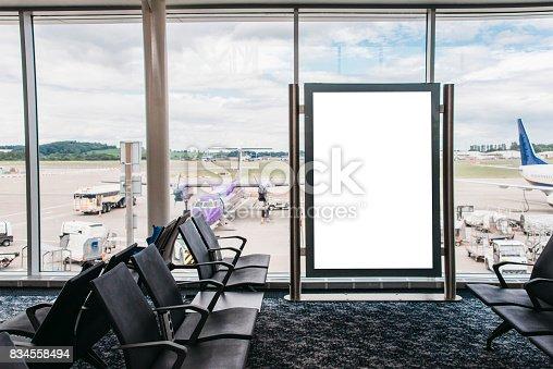 istock Blank billboard in airport 834558494