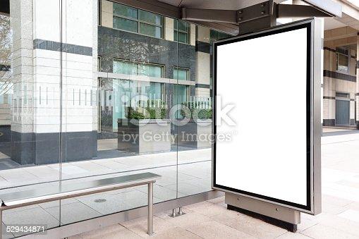 istock Blank billboard in bus stop 529434871