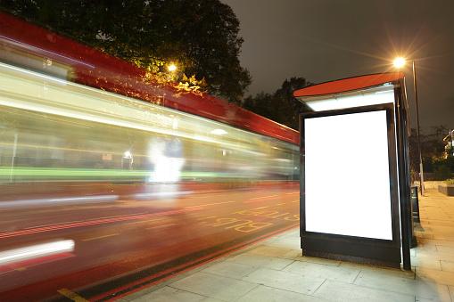 istock Blank billboard in bus stop 530187067