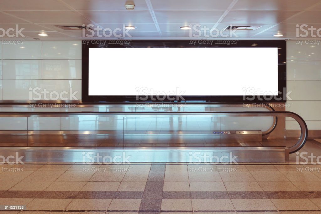 Blank billboard in in airport stock photo