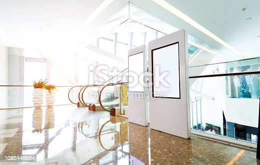 istock Blank billboard in modern shopping mall 1085148654