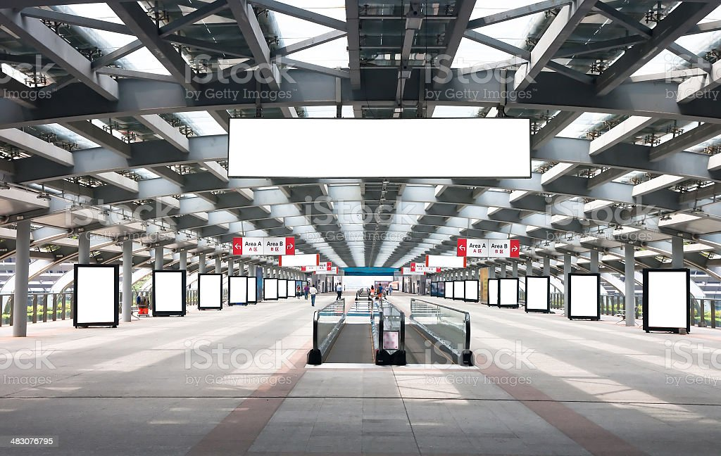 Blank billboard in passage stock photo