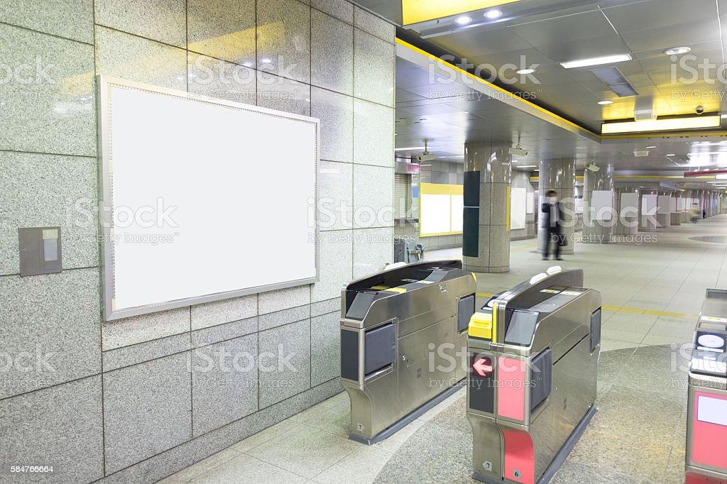 Blank Billboard in public place stock photo