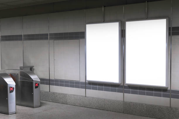 Blank billboard in subway or metro station, Useful for advertising Blank billboard in subway or metro station, Useful for advertising. underground stock pictures, royalty-free photos & images