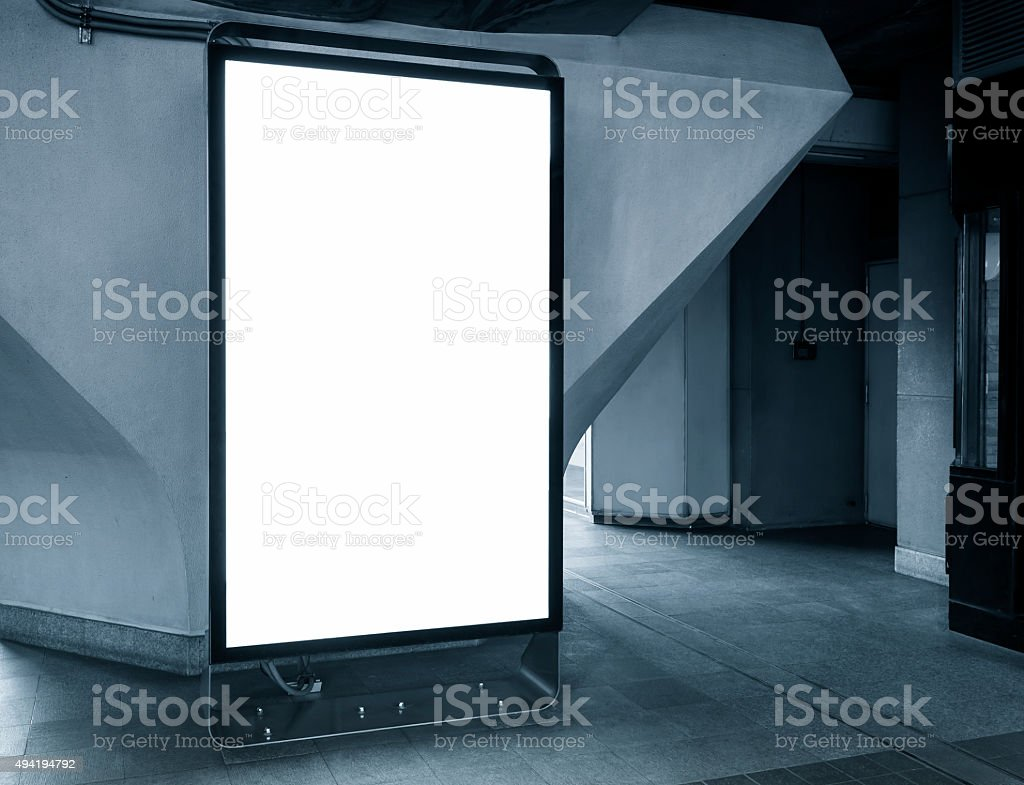 Blank Billboard in subway station Public sign stock photo