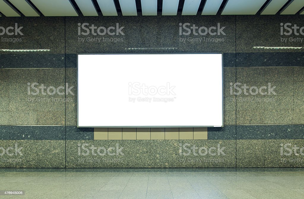 Blank billboard in subway. Useful for your advertising. stock photo