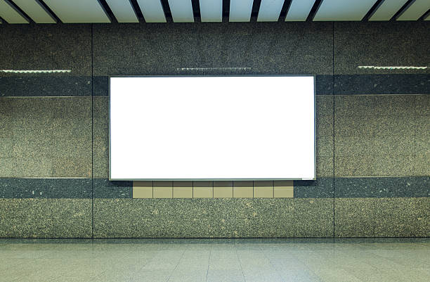 blank billboard in subway. useful for your advertising. - billboard train station bildbanksfoton och bilder