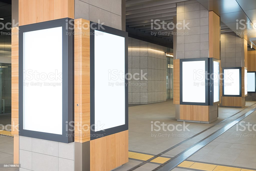Blank Billboard in the airport stock photo