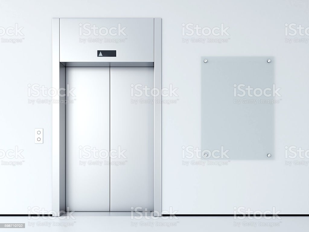 Blank billboard in the hall. 3d rendering stock photo