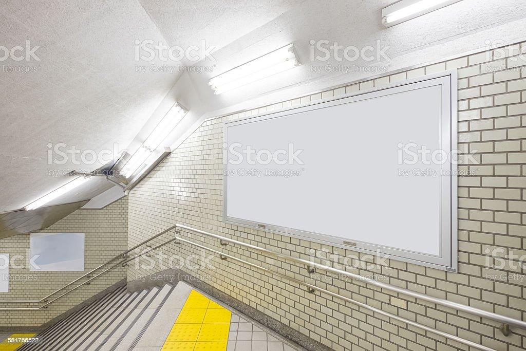 Blank Billboard in the Underpass stock photo