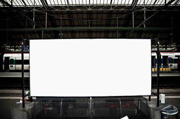 blank billboard in train station - billboard train station bildbanksfoton och bilder