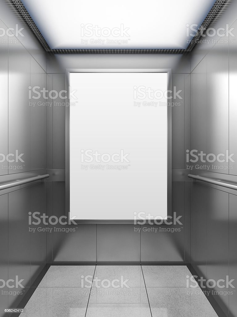 Blank billboard inside of elevator – Foto