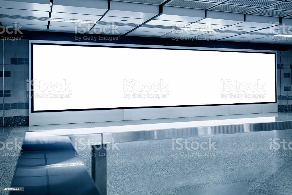 Blank Billboard light box template display in Subway station stock photo