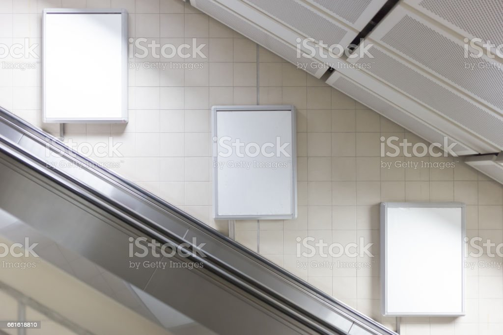 Blank billboard located in subway for advertising stock photo