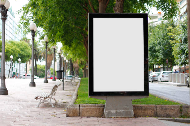 Blank billboard mock up Blank billboard mock up in a park publicity event stock pictures, royalty-free photos & images