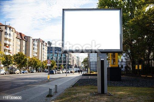 istock Blank billboard mockup for advertising, City street background 1151309600