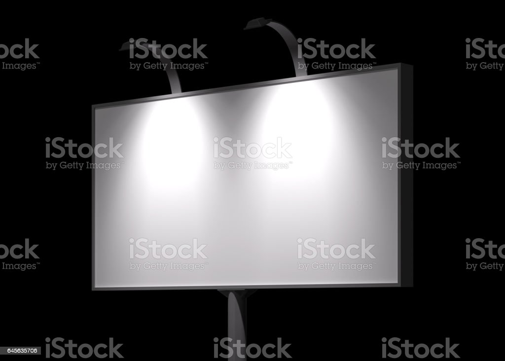 Blank billboard night view mock-up stock photo