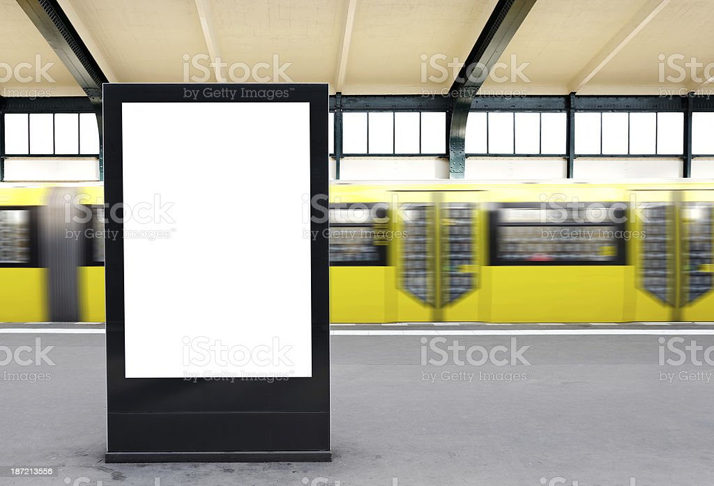 Blank Billboard on a metro station / Berlin stock photo