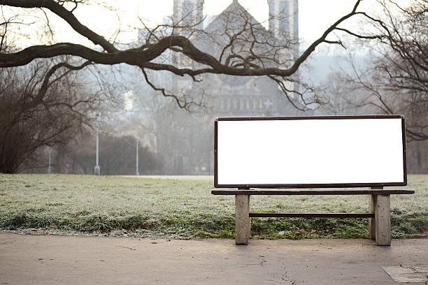 blank billboard on bench at city park - bench bildbanksfoton och bilder