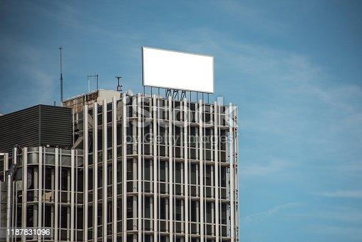 158172107 istock photo Blank billboard on building 1187831096