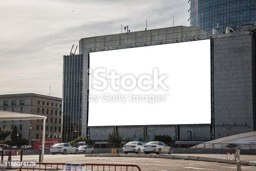 158172107 istock photo Blank billboard on building 1188014179