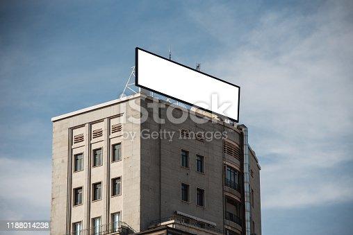 158172107 istock photo Blank billboard on building 1188014238
